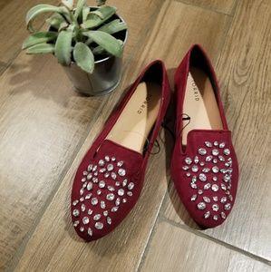 Torrid embellished gem stone maroon flat shoes 9w